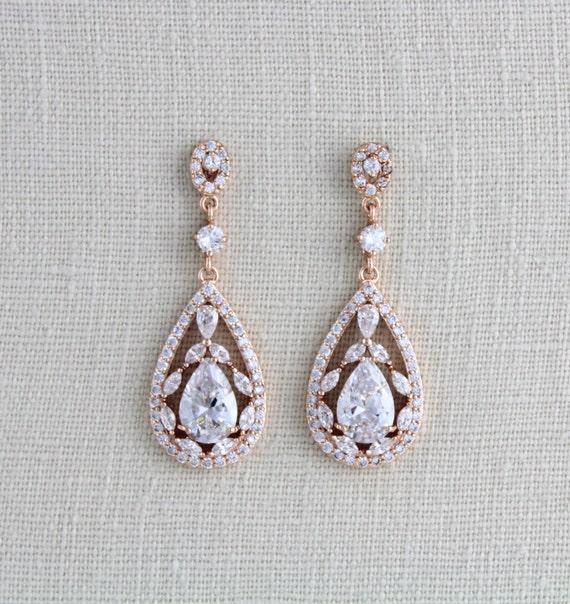 Rose Gold Bridal earrings, Wedding jewelry, Crystal Wedding earrings, Chandelier earrings, Statement earrings, Swarovski earrings, Art deco