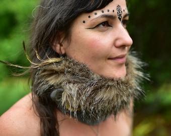 Felt Faux Fur Collar-Fur Cowl-Felt Cowl-Primitive Costume-Festival Wear-Faux Fur Neck Warmer-Felt Scarf-Neck Warmer-Fur Neck Piece OOAK