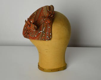 1940s Hats, Juliet Cap, Fall Hats, Paisley Hat, Mid Century Hats, Mini Hats, Half Hats, 1940s Hats, Rust Colored