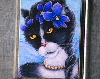 Tuxedo Cat Magnet, Victorian Violet Flower Fairy Cat Art Fridge Magnet