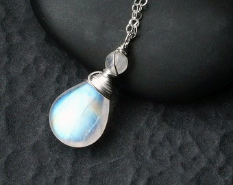 "Rainbow Moonstone Necklace on Sterling Silver - ""Whitewind"" by CircesHouse on Etsy"