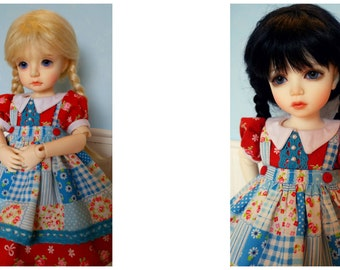 Red and Blue Floral Outfit Set for Iplehouse BID KID YOSD yo-sd bjd abjd