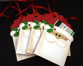 "6 Christmas Santa Claus Gift Card Holders.  4 1/2"" or 11.5 cm Tall by 3"" by 7 cm Wide. Handmade By Me."