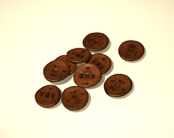 3/4'' Stained Round Label, Custom Leather Labels, Leather Discs, Embossed  Personalized Labels, Leather Tags, stamped leather, custom labels