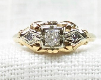 Vintage Diamond Engagement Ring in 14K Yellow Gold; .18 Carat Diamond; Vintage Diamond Ring; Natural Gemstones; Dainty Promise Ring
