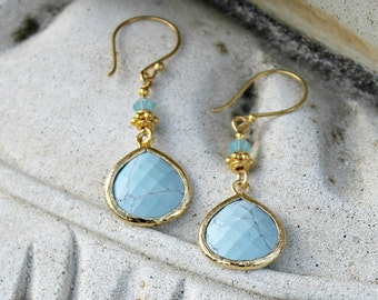 Gold and Turquoise Dangle Earrings, Gold Vermeil, Dangle, Gift for Her