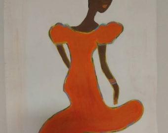 black woman art,african american art, black woman art,afrikkan art, black woman paintings, wall decor, wall art, womans room,orange dress