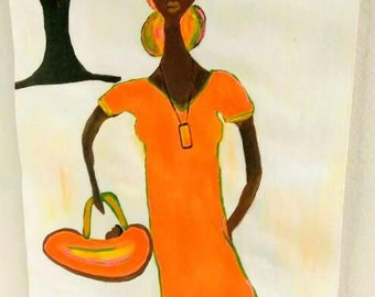 black african woman art ,black woman painting, black woman and baby art, african american child art,orange green,African American art,paint