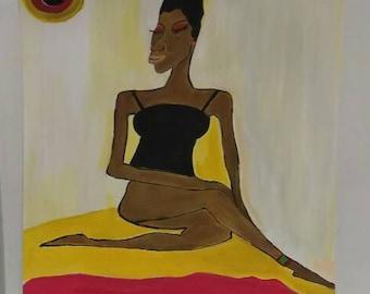 black woman art,african american art, black woman art,afrikkan art, black woman paintings, wall decor, wall art, womans room,red black