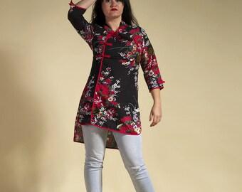 "Japanese dress, japanese tunic, tunic flower "" big in japan"""