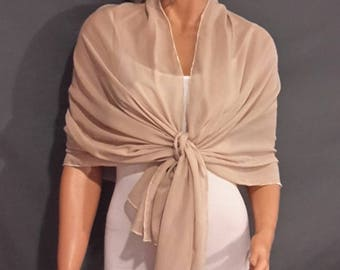Chiffon pull thru wrap wedding shawl scarf sheer cover up long evening shrug prom stole bridal CW201 AVL in champagne and 6 other colors