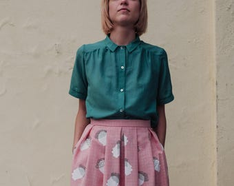 Collar Blouse in cotton and silk in emerald green, Oversize blouse, collared Size small/medium and Medium/large