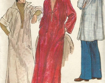 Vintage 70s Vogue 9374 Mens UNCUT Hooded Robe or Caftan Sewing Pattern Size X Large Chest 46-48
