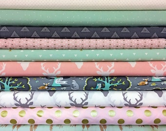 Baby, Girl, Customized, Bundle, Pink, Mint, Grey, Cream, Les, Amis, Buck, Woodland, Fabrics, Modern, Rustic, Choose 8, FREE, SHIPPING,to US