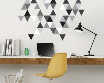 Wall Decals 45 Modern Art Triangles, Geometric Black, Gray and White Repositionable and Reusable Fabric Eco-friendly Peel & Stick
