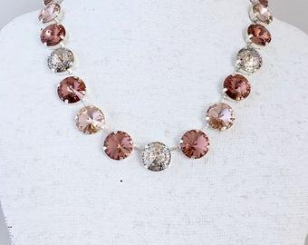 Tri-Color Swarovski Crystal Necklace, 14mm Blush Vintage Rose Patina Crystal Rhinestones, Anna Wintour Inspired, Big Stones Necklace