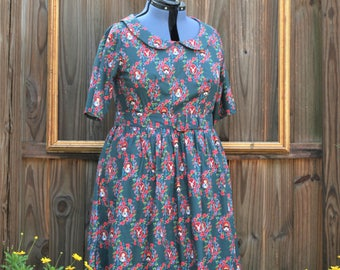 peter pan collar floral print  dress - womens retro clothing - Alice in wonderland