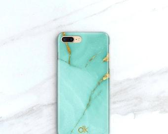 Personalized Phone Case, iPhone 7, Plus Aqua Marble iPhone 6S Case, Marble Turquoise and Gold, iPhone 6S Plus Case, SE, 5S, Samsung Galaxy