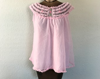 Vintage Pink Babydoll Nightie  Lingerie Top Nylon Ruffled Flowers