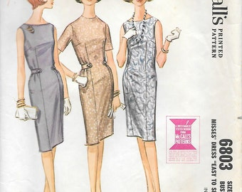 McCalls 6803 1960s Easy to Sew Sheath Dress Vintage Sewing Pattern Size 18 Bust 38 Wiggle Sleeveless Dress