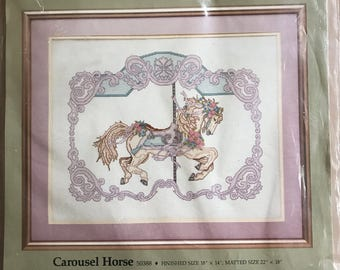 1980s Something Special Carousel Horse Counted Cross Stitch Kit - 50388 - 18 Inches x 14 Inches