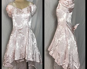 1980s Paris Sport Club Pink Brocade Prom Dress with High Low Hem - Size 7/8