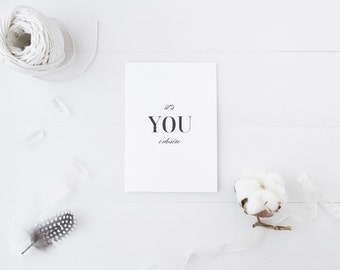 Greeting Card, Black and White, Typography Card, Elegant Card, Love Card, Its You I Desire, Desire Card, I Desire You, Calligraphy,