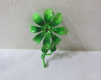 Hedy Signed Brooch Enamel Green Flower Lapel Pin