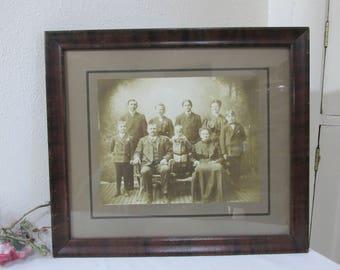 Antique Framed Ancestor's Portrait Sepia Family Picture