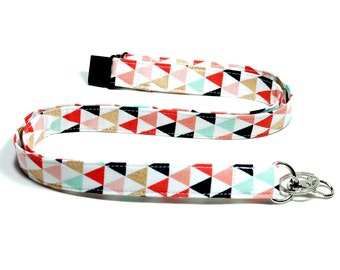 Tribal Triangles Fabric Lanyard Options of Drop Length Breakaway Lanyard Single or Double Breakaway Detachable Lanyard or Key Fob Wristlet.