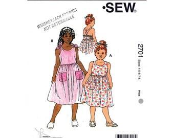 Girls Dress Pattern Kwik Sew 2701 Shoulder Tie Dress Crossed Straps Summer Sundress Girls Sewing Pattern Size 4 5 6 7 8 UNCUT