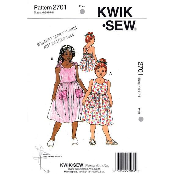 Girls Sewing Pattern Kwik Sew 2701 Shoulder Tie Dress Crossed Straps Sundress Size 4 5 6 7 8