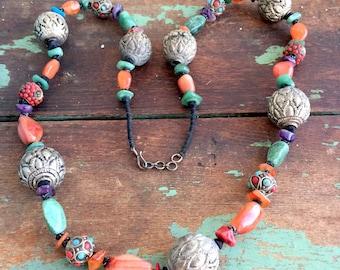 Vintage Chunky Gemstones Beaded Necklace Boho Tribal Jadite Amethyst Carnelian