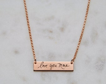 Handwriting Rose Gold Rectangle Necklace - Custom personalized rose gold necklace, Rose gold handwriting pendant, Memorial rose gold jewelry