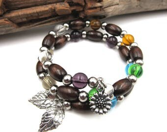 NEW Multicolored Glass Wooden Beaded - Adjustable Memory Wire Bracelet (SSBR224)