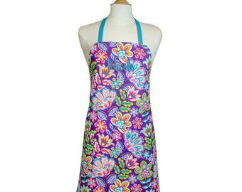 Hostess Apron Cute Aprons Full Apron Mother's Day Gift Kitchen Apron Personalized Apron Ladies Apron Lightweight Apron Purple Fiesta Floral