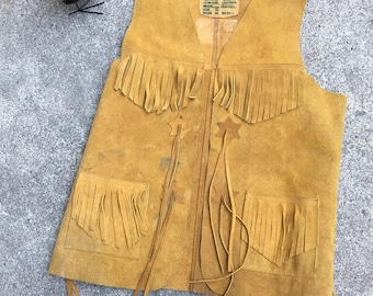 Suede Leather Vest - Made in Mexico - Fringe Fringed Vest - Vaquero Ranch Hand Ranchero Cowboy Cowgirl Vest - Costume - Unisex - 38 Chest