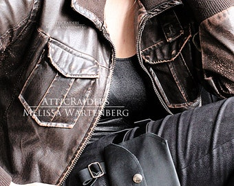 Black Leather Thigh Bag - Adjustable