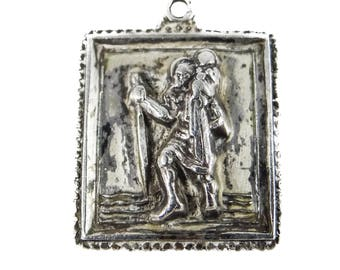 Vintage Saint Christopher Sterling Silver Pendant by M. de Jean