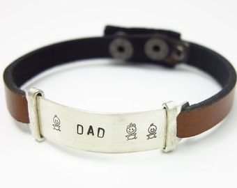 Mens Leather Bracelet - Gift for Him - leather bracelet - Personalized mens bracelet