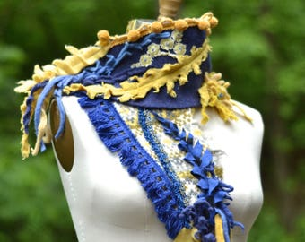 Blue yellow SCARF Wrap, bohemian art to wear, OOAK up cycled unique accessory, altered blue wrap, textured scarf with ruffles, pom poms.