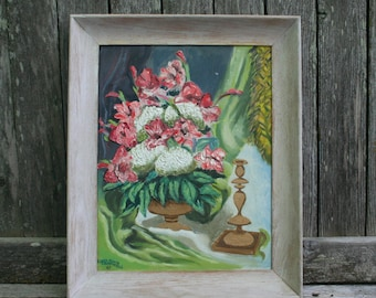 Vintage Original 1967 Floral Painting With White Washed Painted Wood Frame