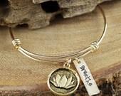 Personalized Gold Lotus Bangle Bracelet, Charm Bracelet, Breathe Bracelet, Gold Lotus Bracelet, Yoga Bracelet, Gift for Yogi