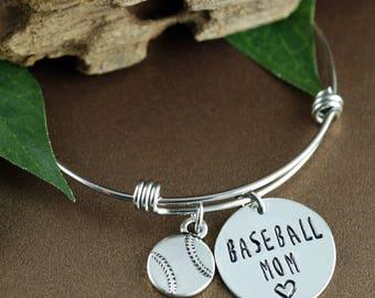 Baseball Mom Bracelet, Personalized Sports Bracelet, Mom Jewelry, Mothers Day Gift, Initial Bracelet, Baseball Jewelry, Team Mom Gift