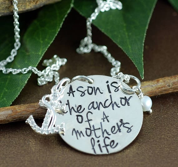 Personalized Anchor Necklace, Hand Stamped Anchor Necklace, Mother and Son Necklace, Sons are the Anchor, Mothers Necklace, Gift for Mom