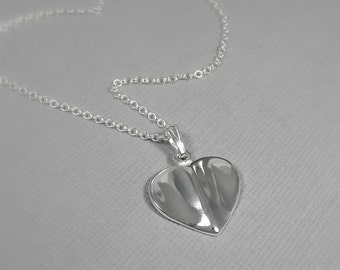Sterling Silver Heart Necklace, Heart Necklace, Bridesmaid Necklace, Bridesmaid Gift, Flower Girl Necklace, Heart Jewelry, Silver Jewelry