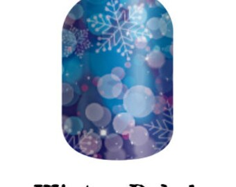 Winter Bokeh in Blue - Custom Jamberry Nail Wraps - Winter 2016 Collection