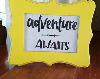 Adventure Awaits framed cross stitch, Adventure Awaits Sign, Cross Stitch Adventure Awaits Home Decor, Framed Adventure Awaits Wall Sign