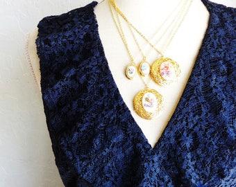 Vintage Gold Plated Locket - Vintage Limoges Locket Necklace - Pink Flower Limoges Locket - Rare Limoges Locket Necklace