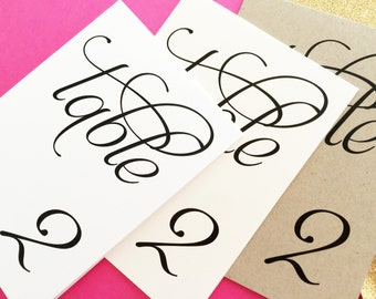 Scripted Pearl Shimmer Table Numbers - Table Number Signs - Wedding Table Numbers
